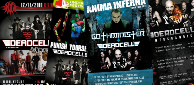Ontwerp diverse flyers Deadcell Guitart Apeldoorn Eindhoven Gothminister Berliin