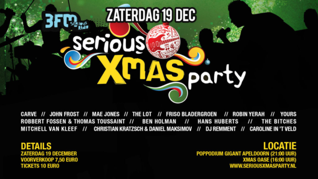 Tv scherm Serious X-Mas Party, Guitart Apeldoorn, design, ontwerp